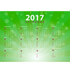 Calendar 2017 design on green background vector image