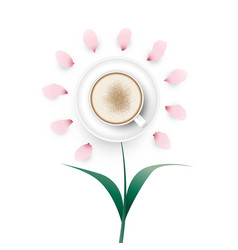 Cappuccino coffee flower vector