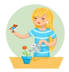 Cartoon girl female woman character bird watering vector