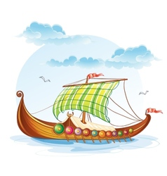 Cartoon image of the viking merchant ships svi vector