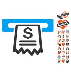Cashier receipt icon with valentine bonus vector