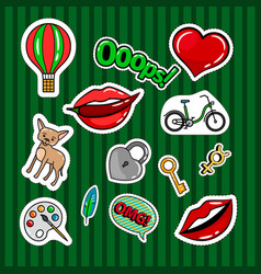 Colored quirky badges set vector