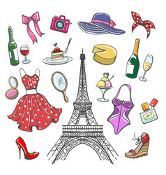 colorful paris fashion sketch collection vector image