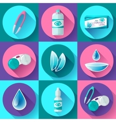 contact lenses icon set Flat design style vector image vector image
