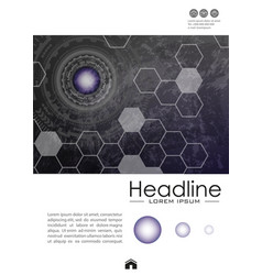 Cover design on metallic background with vector