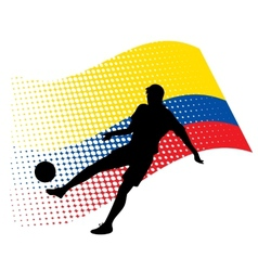 ecuador soccer player against national flag vector image vector image