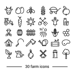 Farm line icons vector