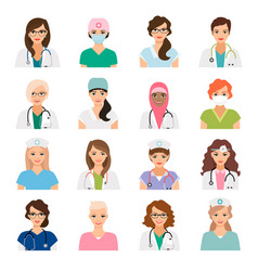 Female doctors and nurses avatars set vector