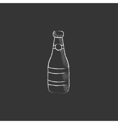 Glass bottle drawn in chalk icon vector