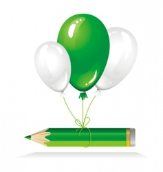 green pencil on balloons vector image vector image