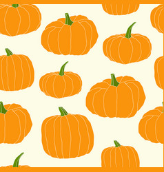 hand drawn orange pumpkin seamless pattern vector image vector image