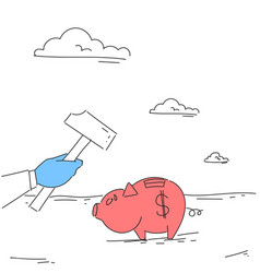 Hand hold hammer broking piggy bank with savings vector
