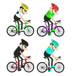 Man cyclists group pattern vector