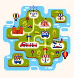 map of amusement park with attractions vector image vector image