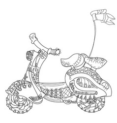 Motor scooter doodle vector