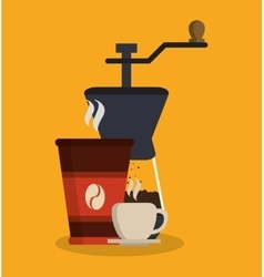 Mug cup and greinder of coffee shop design vector