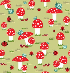 mushroom background vector image vector image