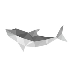Origami shark isolated on white background vector