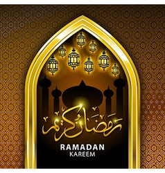 Ramadan greeting card on orange background vector