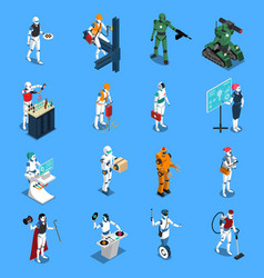 Robot professions isometric set vector