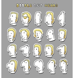 Set of 20 different avatar men characters Face Boy vector image vector image