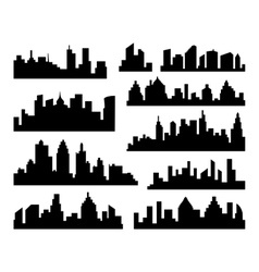 Set of cities silhouette black city vector