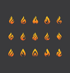 Set of fire flame icons and logo isolated on black vector