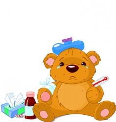 sick teddy bear vector image