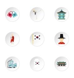 South korea republic icons set flat style vector