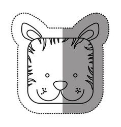 Sticker cute zebra animal head expression vector