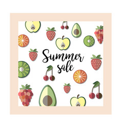Summer sale banner with pieces of ripe fruit vector