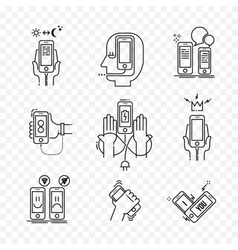 Thin line icons set of smartphone vector image