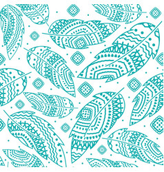 turquoise boho feather pattern vector image vector image