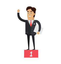 winner on pedestal in flat vector image vector image