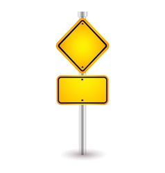 Yellow road sign with shadow vector