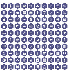 100 help icons hexagon purple vector