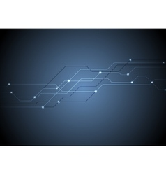 Dark blue circuit board chip tech background vector