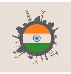 Circle with industrial silhouettes India flag vector image