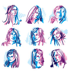 Set of colorful art portraits of females drawn vector