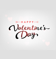 white happy valentines day card with hearts and vector image