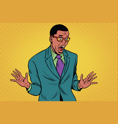 Shocked african american businessman vector