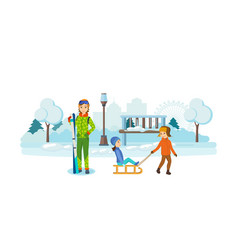 children playing in park  girl holding a ski set vector image