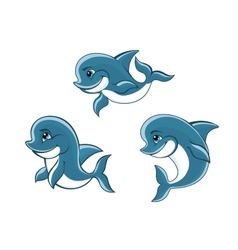 Cartoon little blue dolphins vector