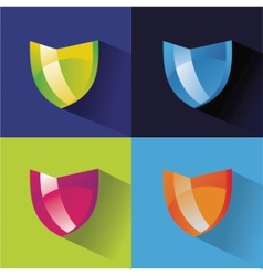 Securitty icons flat set on colored background vector