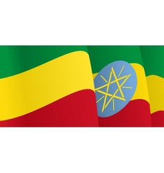 Background with waving ethiopian flag vector