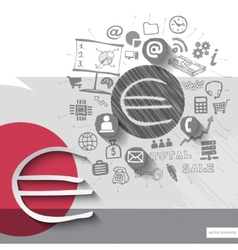 Paper and hand drawn euro emblem with icons vector image