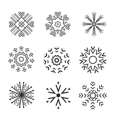 Set of 9 abstract snowflakes vector