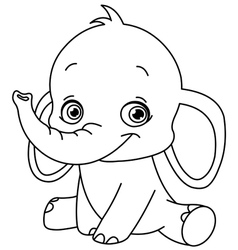 Outlined baby elephant vector