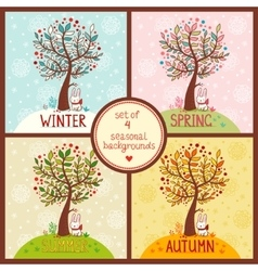 Set of 4 seasonal backgrounds with tree vector