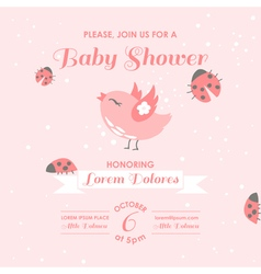 Baby Shower or Arrival Card - Bird and Ladybugs vector image